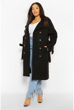Black Plus Belted Wool Look Trench