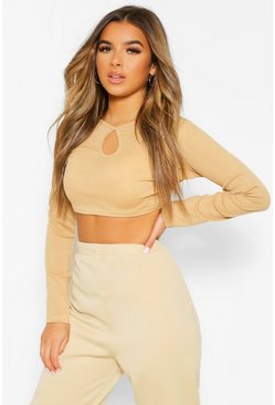 Mocha beige Petite Rib Cut Out Detail Long Sleeve Crop Top
