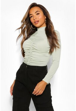 Olive green Petite Rib Ruched Front High Neck Top
