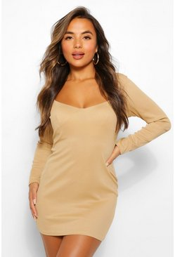 Mocha beige Petite Rib Corset Detail Long Sleeve Dress