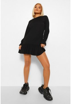 Black Petite Rib Frill Hem Long Sleeve Shift Dress