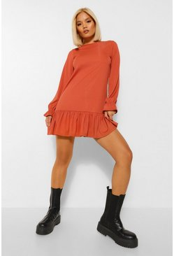 Rust orange Petite Rib Frill Hem Long Sleeve Shift Dress