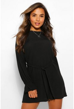 Black Petite Rib Frill Cuff Belted Shift Dress