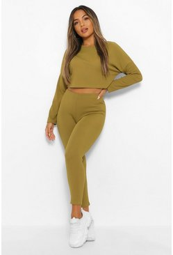 Olive green Petite Long Sleeve Crop Top and Leggings Lounge Set