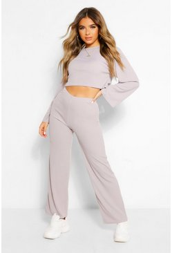 Grey Petite Flared Sleeve and Wide Leg Lounge Set