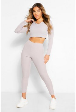 Grey Petite Notch Neck Top and Jogger Lounge Set