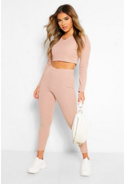 Stone beige Petite Notch Neck Top and Jogger Lounge Set