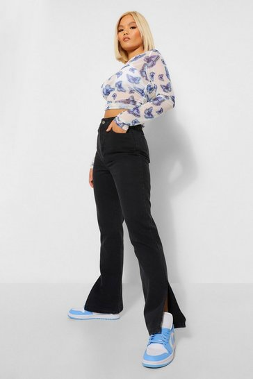 Petite Black Split Hem Jeans