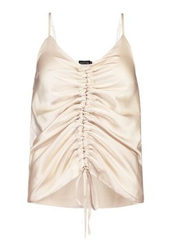 Champagne Petite Satin Ruched Front Cami