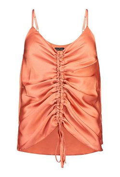 Rust Petite Satin Ruched Front Cami