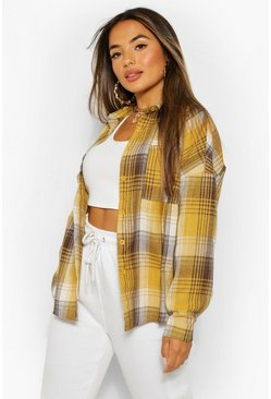 Yellow Petite Oversized Pocket Detail Check Shirt