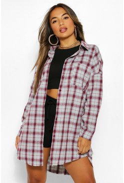 Burgundy red Petite Oversized Frayed Flannel Shirt