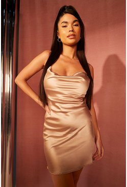 Champagne beige Petite Satin Cowl Neck Mini Dress