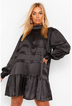 Black Plus Satin High Neck Ruffle Smock Dress