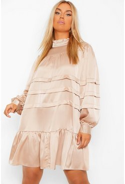 Plus Satin High Neck Ruffle Smock Dress, Champagne beige