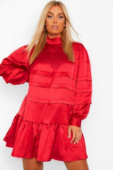 Wine red Plus Satin High Neck Ruffle Smock Dress