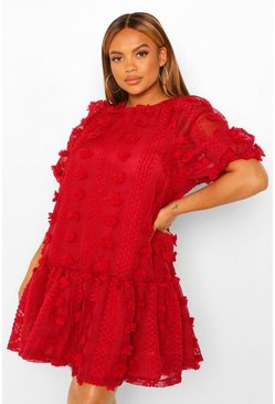 Berry Plus Textured Dobby Puff Sleeve Smock Dress