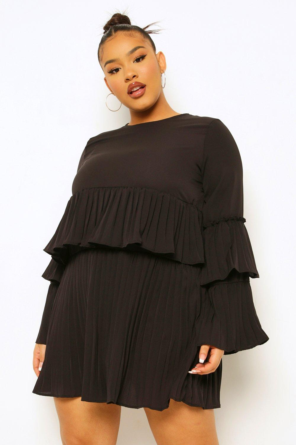 Plus Pleated Ruffle Shift Dress 12