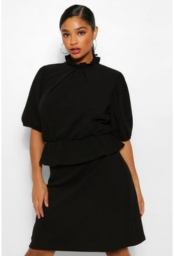 Black Plus Peplum Puff Sleeve High Neck Skater Dress