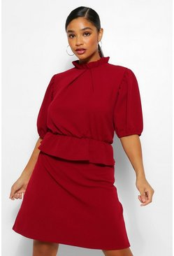 Wine red Plus Peplum Puff Sleeve High Neck Skater Dress