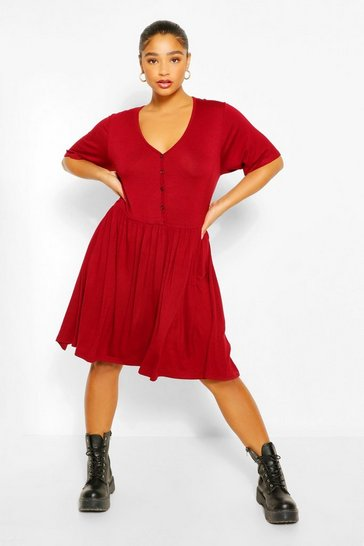 Berry red Plus Button Through Short Sleeve Smock Dress
