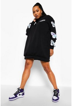 Black Plus Butterfly Sleeve Hooded Sweat Dress