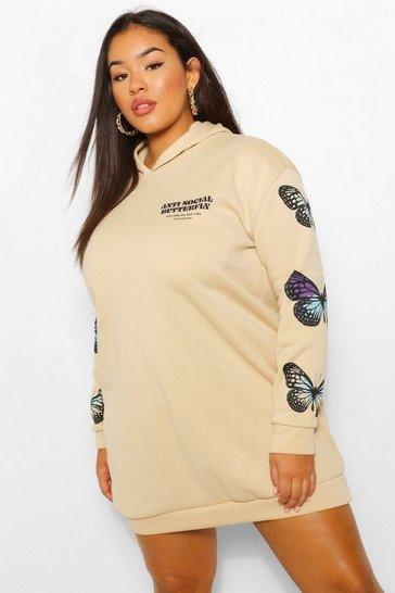 Stone beige Plus Butterfly Sleeve Hooded Sweat Dress