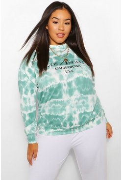 "Grande taille - Sweat tie-dye oversize ""Los Angeles"", Blue bleu"