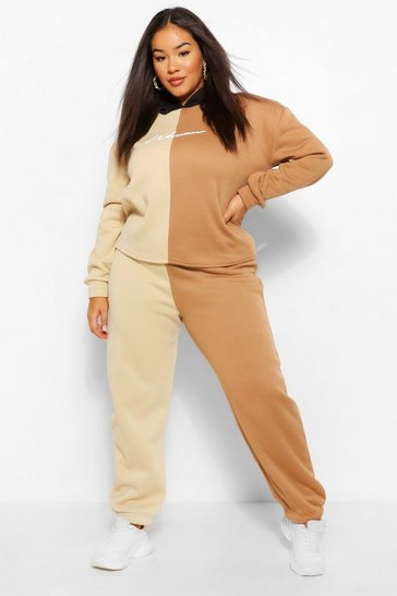 Stone beige Plus Woman Colour Block Hoody Tracksuit