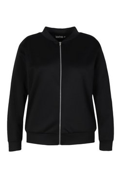 Black Plus Baby Girl Back Print Bomber Jacket