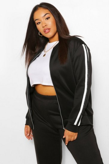 Black Plus Stripe Side Bomber Jacket
