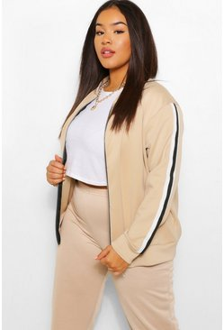 Stone beige Plus Stripe Side Bomber Jacket