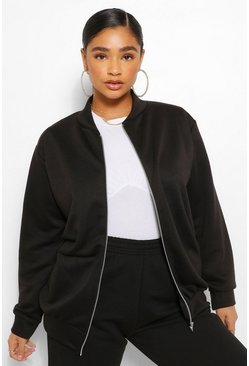 Black Plus Loopback Sweat Bomber Jacket