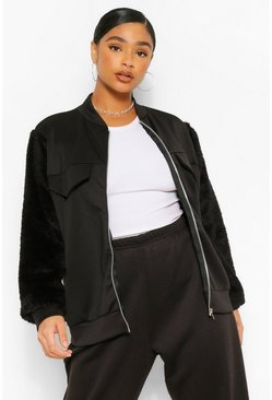 Black Plus Teddy Scuba Contrast Bomber Jacket