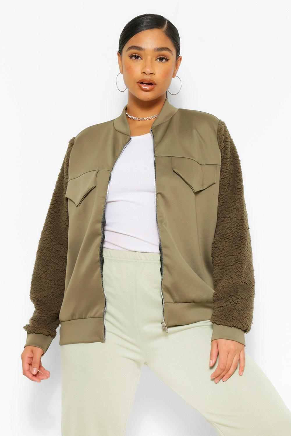 Plus Teddy Scuba Contrast Bomber Jacket 19