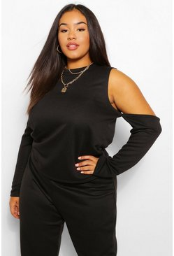 Black Plus Cold Drop Shoulder Crop Sweat