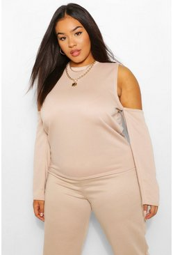 Plus Cold Drop Shoulder Crop Sweat, Stone beige