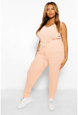 Koraal pink Plus Gebreide Joggingbroek