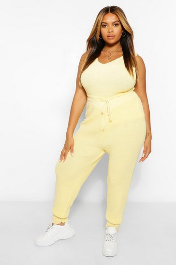 Lemon yellow Yellow Plus Knitted Jogger