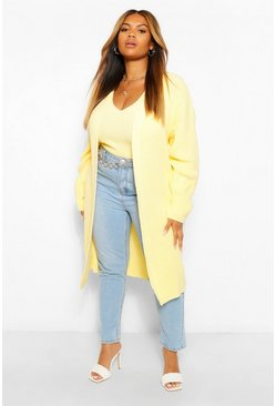 Lemon yellow Plus Longline Cardigan