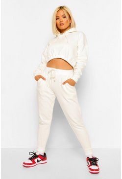 Ecru white Hoodie And Jogger Set