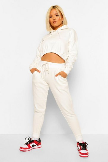 Ecru white White Hoodie And Jogger Set