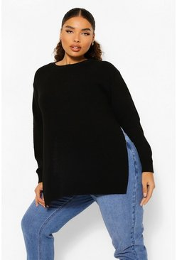 Black Plus Side Split Moss Stitch Sweater