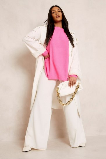 Bright pink pink Pink Plus Side Split Moss Stitch Jumper