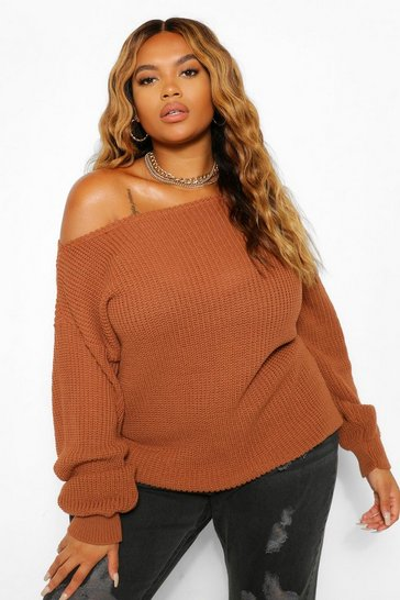 Toffee beige Beige Plus Slash Neck Oversized Jumper