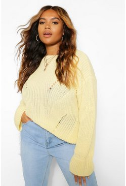 Plus Cuff Detail Fisherman Jumper, Lemon gelb