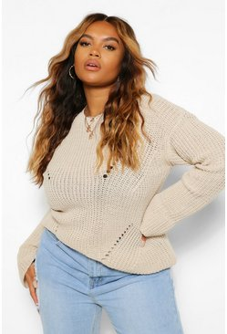Plus Cuff Detail Fisherman Jumper, Sand beige