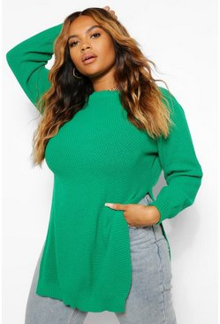 Bright green green Plus Side Split Moss Stitch Tunic Sweater