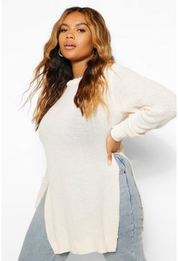 Ecru white Plus Side Split Moss Stitch Tunic Sweater