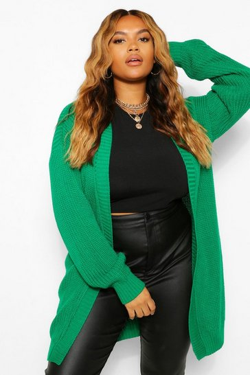 Bright green green Green Plus Edge To Edge Cardigan